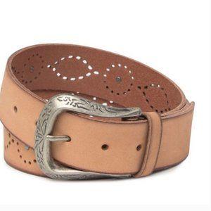 FRYE Western Studded Leather Belt Tan Small NWT